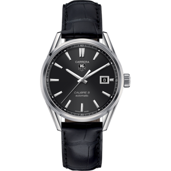 Carrera Calibre 5 Automatic Watch. The 39 mm Watch Is Stainless Steel, Has A Black Dial And Is On Black Leather Strap With Folding Clasp. Model WAR211A.