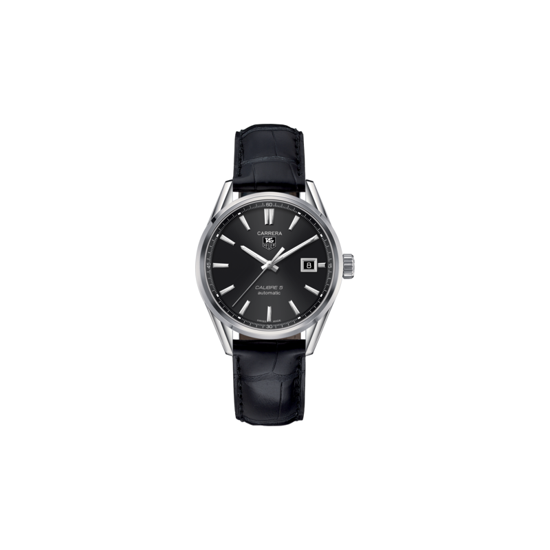 Tag Heuer Carrera Calibre 5 Automatic Watch. The 39 mm Watch Is Stainless Steel, Has A Black Dial And Is On Black Leather Strap With Folding Clasp. Model WAR211A.