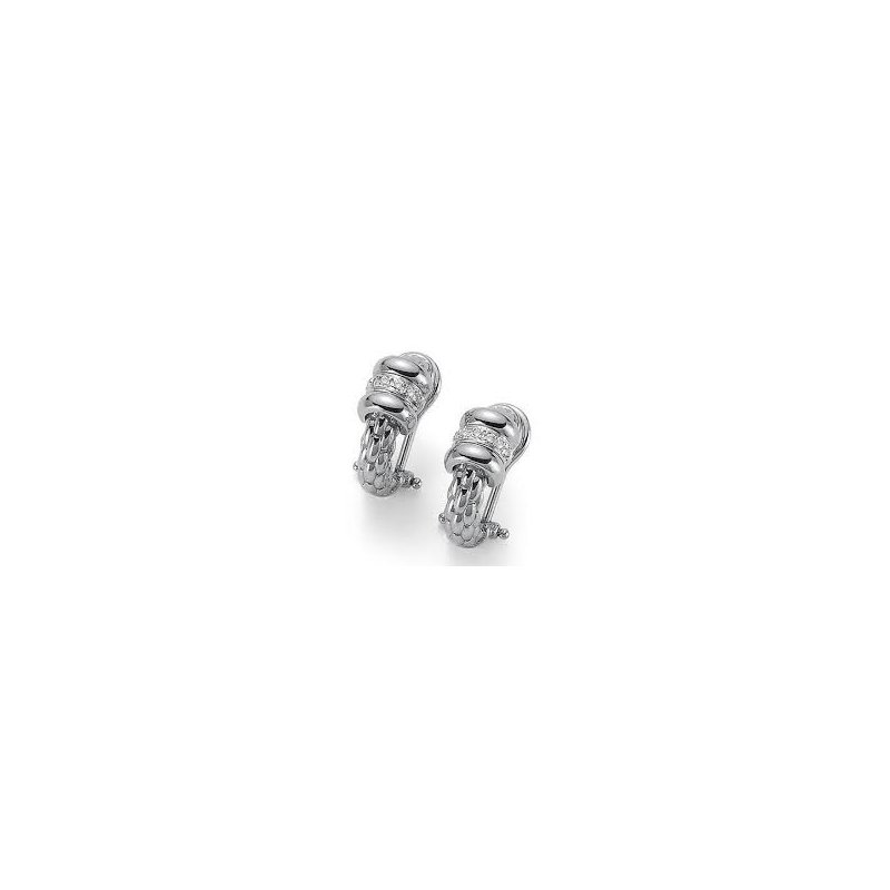 Fope Fope 18Kt White Gold Omega Clip Flex'it Solo Link Earrings With Diamond Accent. Dia=0.10 Cttw.