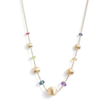 Marco Bicego 18kt Africa necklace with deep gem stones. Available at our Halifax store