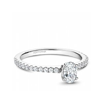 NC Studio Ring 14K W 0.50Ct Oval Center Diamond Si/Gh With 24Rd=0.26Ct Side Diamonds Si/Gh