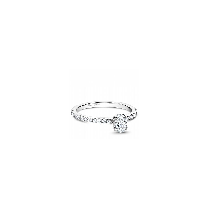 Noam Carver NC Studio Ring 14K W 0.50Ct Oval Center Diamond Si/Gh With 24Rd=0.26Ct Side Diamonds Si/Gh