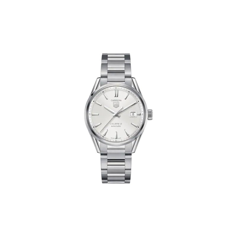 Tag Heuer  Carrera Calibre 5 Automatic Watch. The 39 mm Watch Is Stainless Steel, Has A Grey Dial And Is On A Steel Bracelet. Model WAR211B.