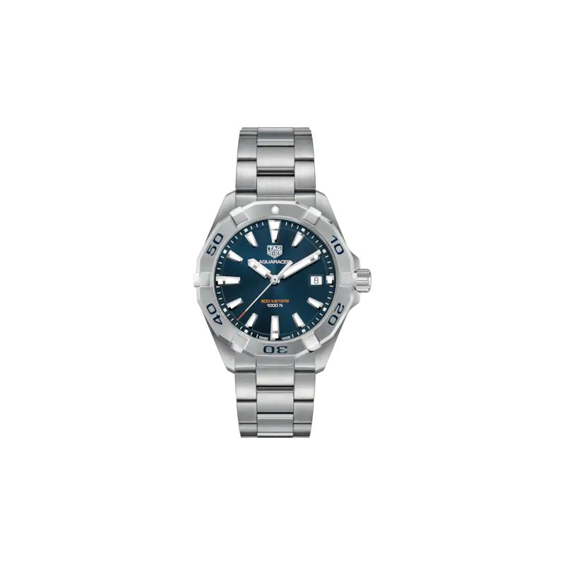 Tag Heuer  Aquaracer Steel Watch. The 41 mm Quartz Watch Has A Blue Dial, Steel Rotating Bezel And A Steel Bracelet With Folding Clasp And Wet-Suit Extension. Model WBD1112.
