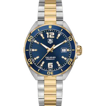 Formula One 41 mm Quartz Watch In Stainless Steel And Gold Plate.  The Watch Has A Blue Aluminum Bezel With Gold Plated Ring, Blue Dial, Sapphire Crystal, Steel Case And Steel Flip-Lock Bracelet With Gold Plate Center Links. Model WAZ1120.