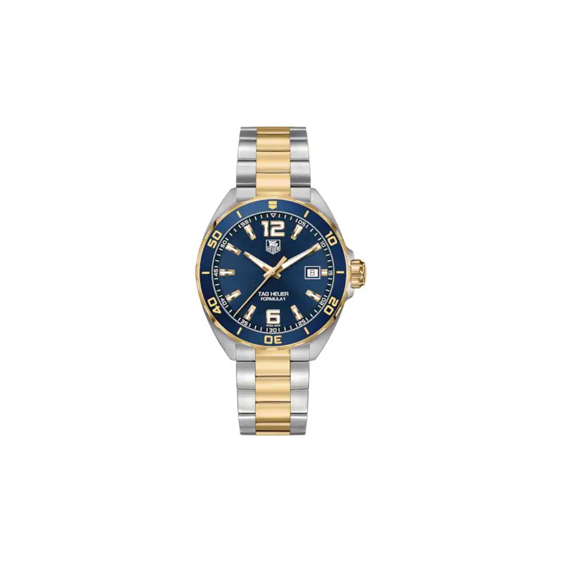 Tag Heuer  Formula One 41 mm Quartz Watch In Stainless Steel And Gold Plate.  The Watch Has A Blue Aluminum Bezel With Gold Plated Ring, Blue Dial, Sapphire Crystal, Steel Case And Steel Flip-Lock Bracelet With Gold Plate Center Links. Model WAZ1120.