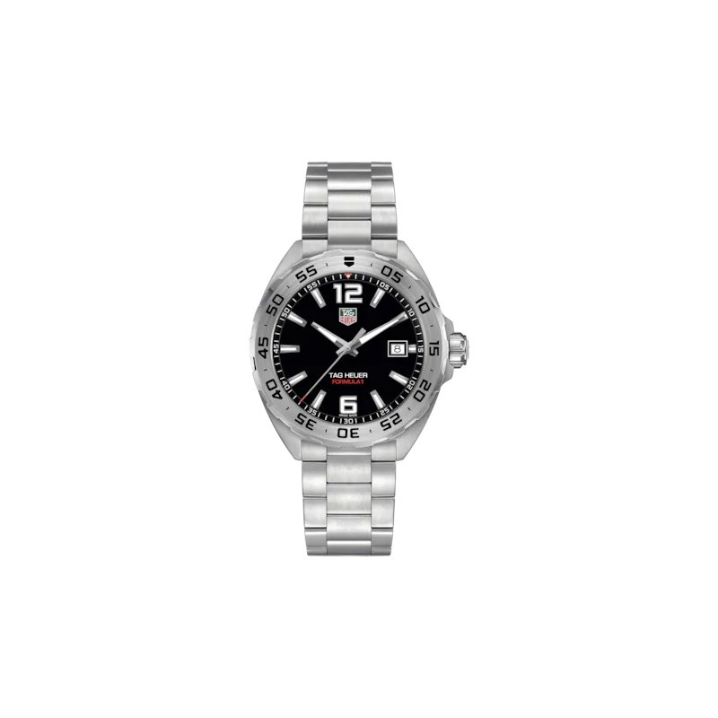 Tag Heuer  Formula One Quartz Watch. The 41 mm Stainless Steel Watch Has A Black Dial And Flip-Lock Extension Bracelet. Model WAZ1112.