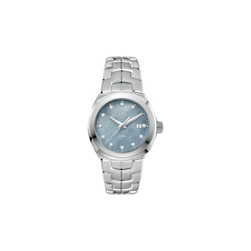 Tag Heuer  'Lady Link' 32 mm Quartz Watch In Stainless Steel. The Watch Has A Blue/Grey  Mother Of Pearl Dial With Diamond Hour Markers And A Tapered Steel Bracelet With  A Butterfly Folding Clasp. Watch Is Model WBC1313.