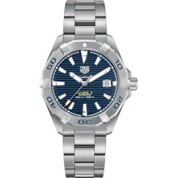 Aquaracer Automatic Mans Stainless Steel Watch. The 41 mm Watch Has A Black Dial And A Steel Bracelet With A Wet-Suit Extension. Model WBD2112.