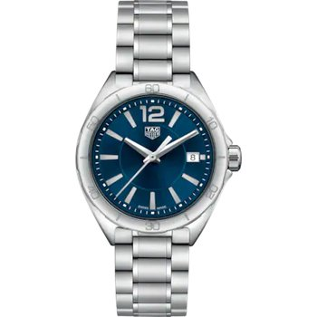 Formula 1 Quartz Watch. The 35 mm Watch Is Stainless Steel, Has A Sapphire Crystal, Blue Dial And A Steel Bracelet With Folding Clasp. Model WBJ1312.