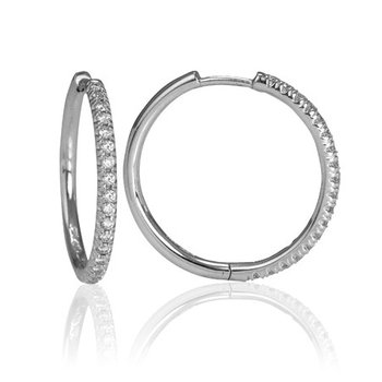 14kt white gold diamond hoops.0.28ct. Available at our Halifax store.