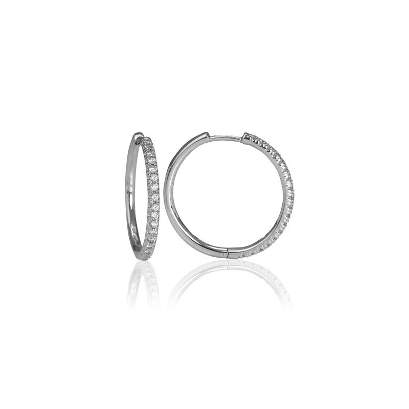Max Strauss 14kt white gold diamond hoops.0.28ct. Available at our Halifax store.