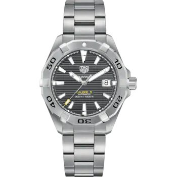 Aquaracer Automatic Mans Stainless Steel Watch. The 41 mm Watch Has A Grey Dial And A Steel Bracelet With A Wet-Suit Extension. Model WBD2113.