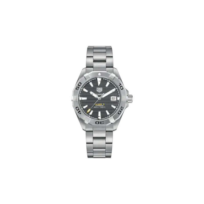 Tag Heuer  Aquaracer Automatic Mans Stainless Steel Watch. The 41 mm Watch Has A Grey Dial And A Steel Bracelet With A Wet-Suit Extension. Model WBD2113.