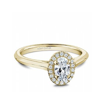 Carver Studio Ring 14K Y with 0.50Ct Oval center diamond SI/GH with halo set with 16=0.08ct SI/GH