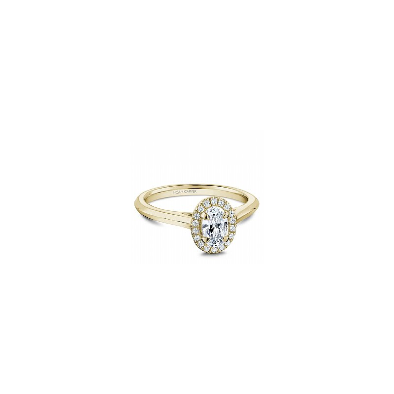 Noam Carver Carver Studio Ring 14K Y with 0.50Ct Oval center diamond SI/GH with halo set with 16=0.08ct SI/GH