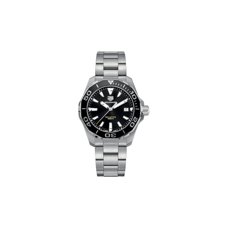 Tag Heuer  Aquaracer Quartz Mans Stainless Steel Watch. The 41 mm Watch Has A Black Dial, Black Bezel And A Steel Bracelet With A Wet-Suit Extension. Model WAY111A.