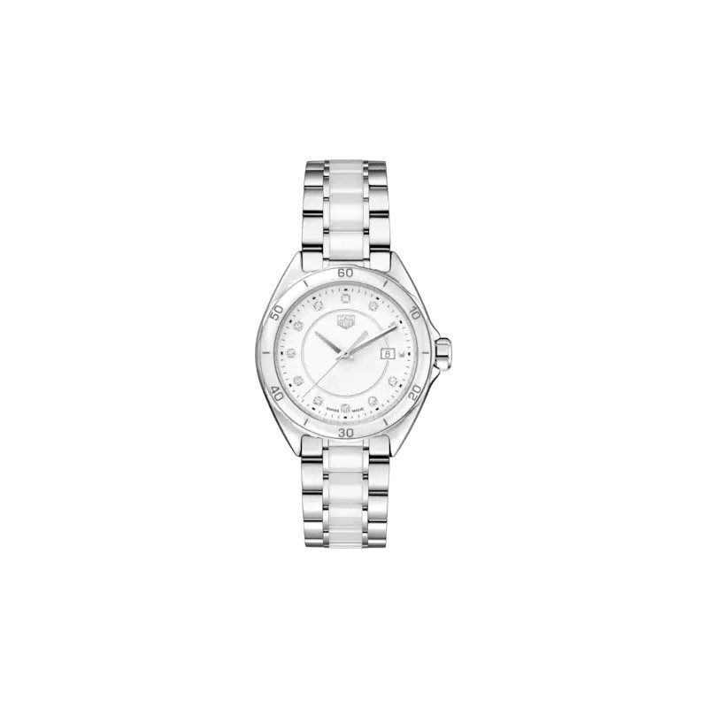Tag Heuer  Formula 1 Quartz Watch In Stainless Steel And White Ceramic. The 35 mm Watch Has A Steel Case With Ceramic Bezel Insert, A Steel Bracelet With Ceramic Middle Link And Folding Clasp And A White Dial With 11 Diamond Hour Markers. Model WBJ141AD.