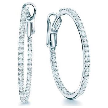 Birks Rosee Du Matin Medium Diamond Hoop Earrings In 18Kt White Fold 0.65Ct