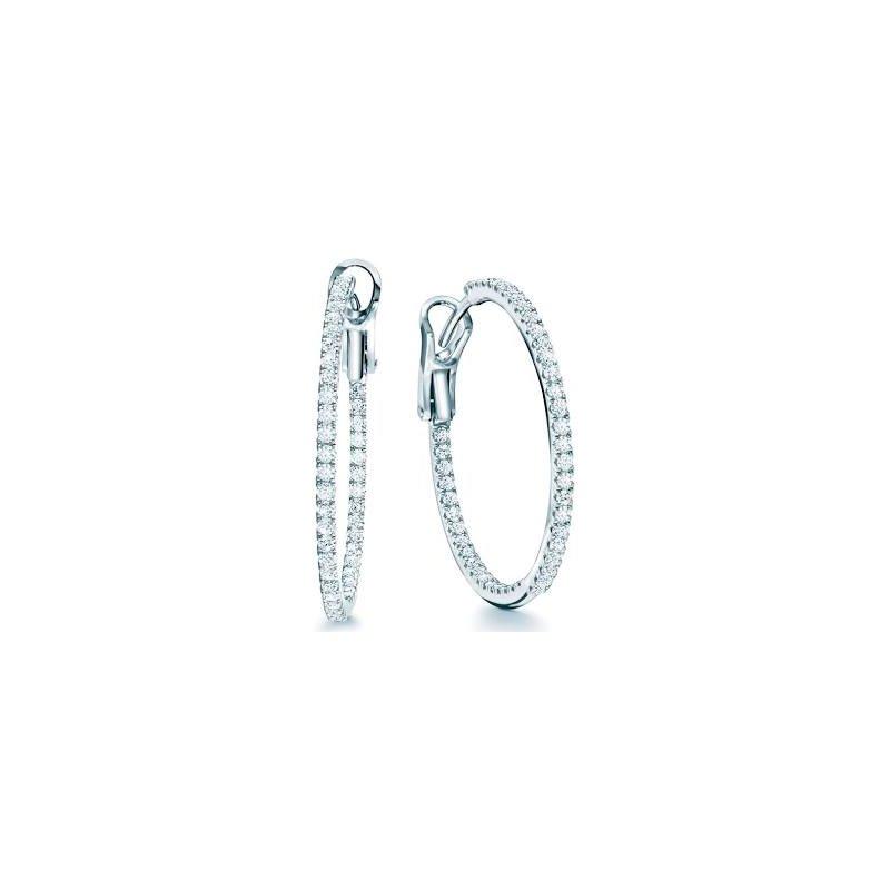 Birks Birks Rosee Du Matin Medium Diamond Hoop Earrings In 18Kt White Fold 0.65Ct