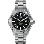 Tag Heuer  Mans Aquaracer Automatic Steel Watch. The 43 mm Watch Has A Calibre 5 Movement, Date At 3 O'clock And A Steel Bracelet With A Wet-Suit Extension. Model WAY2010