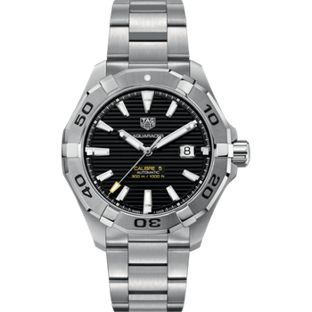 Mans Aquaracer Automatic Steel Watch. The 43 mm Watch Has A Calibre 5 Movement, Date At 3 O'clock And A Steel Bracelet With A Wet-Suit Extension. Model WAY2010