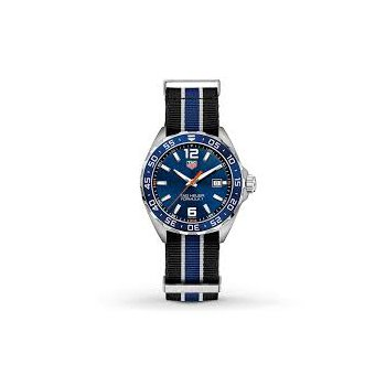 Formula One 43 mm Stainless Steel Quartz Watch With A Blue Dial, Blue Bezel And Blue Nato Strap. Model WAZ1010.
