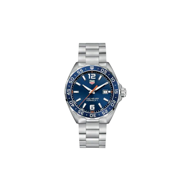 Tag Heuer Formula One 43 mm Stainless Steel Quartz Watch With A Blue Dial, Blue Bezel And Blue Nato Strap. Model WAZ1010.