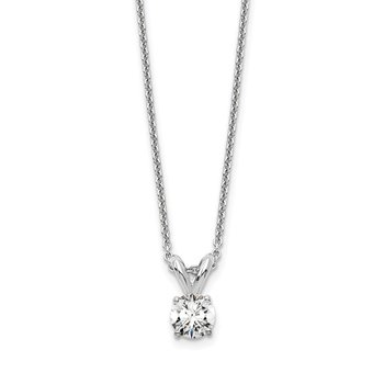 14kw 1/4ct. Round Lab Grown Diamond SI1/SI2, J, Solitaire Necklace