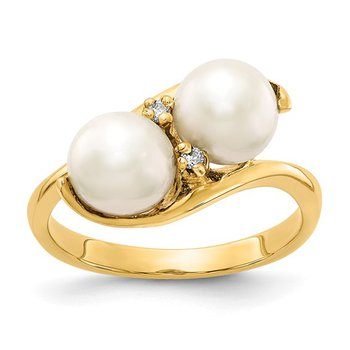 14k 6mm FW Cultured Pearl AA Diamond ring