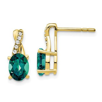 10k Created Alexandrite and Diamond Earrings