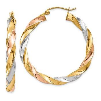 14k Tri-color Light Twisted Hoop Earrings