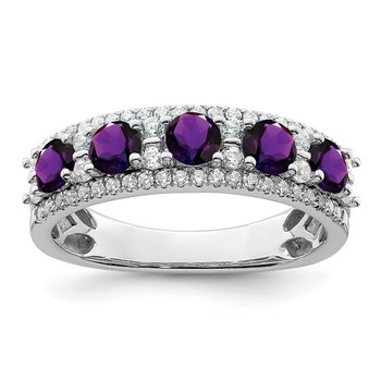 14k White Gold Polished Amethyst and Diamond Ring