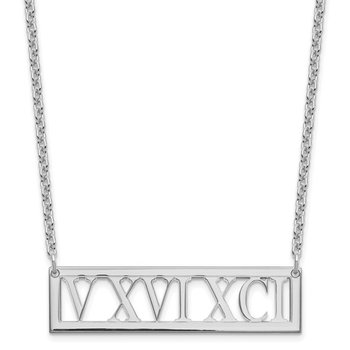 Sterling Silver Roman Numeral Cutout Bar Necklace