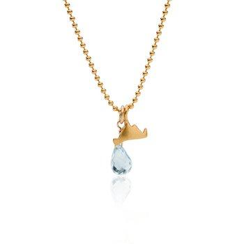 Mini Martha's Vineyard necklace with blue topaz briolette in vermeil