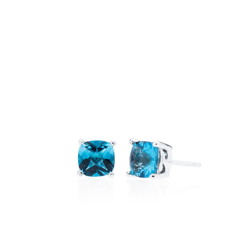 Wave Collection small earrings with blue topaz