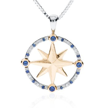Compass Rose pendant with alternating diamonds and sapphires
