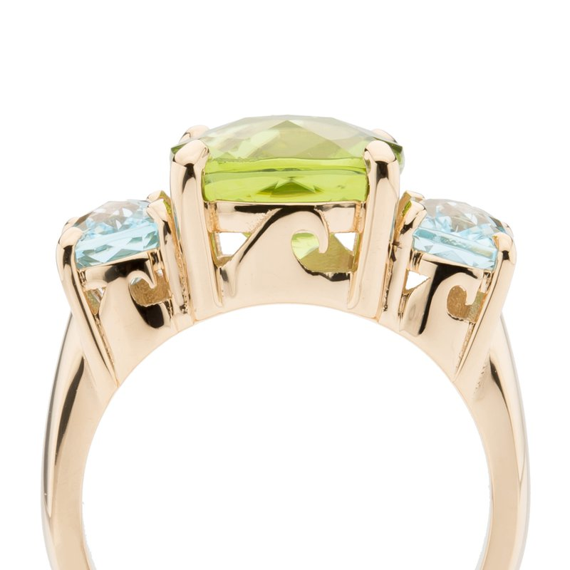 Gemstone Wave Collection Three Stone Ring with Peridot and Sky Blue Topaz