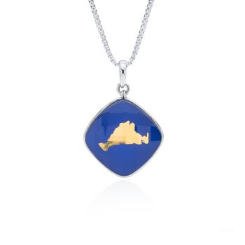Martha's Vineyard lapis layered pendant