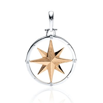 Large Round Compass Rose pendant