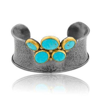 "Lika Behar ""Kristen"" Kingman Turquoise hammered cuff bracelet"