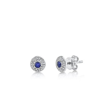 Sapphire and Diamond Double Halo Earrings