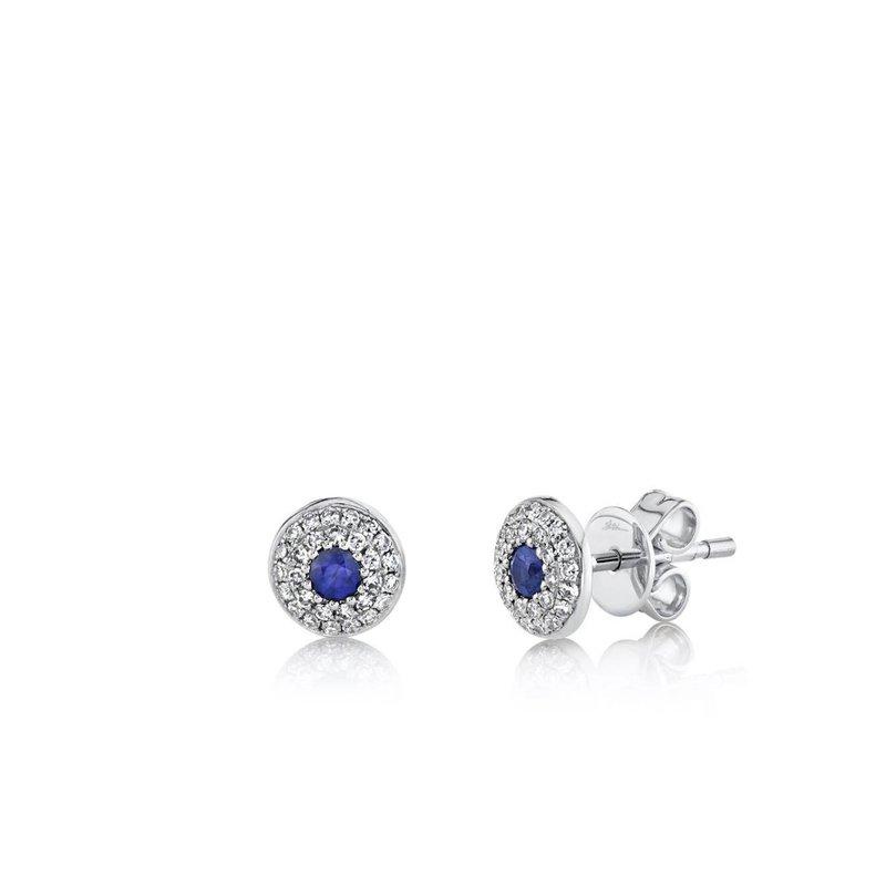 Sapphire and Diamond Double Halo Earrings