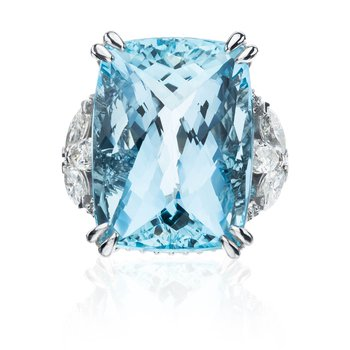Platinum 33.24ct Aquamarine custom CB Stark ring