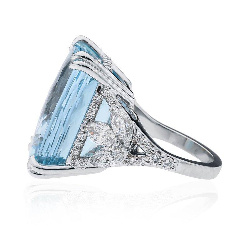 Platinum 33.24ct Aquamarine custom CB Stark ring