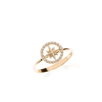 Mini Diamond Pave Compass Rose ring