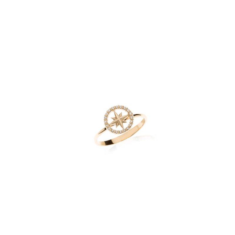 Mini Diamond Pave Compass Rose ring
