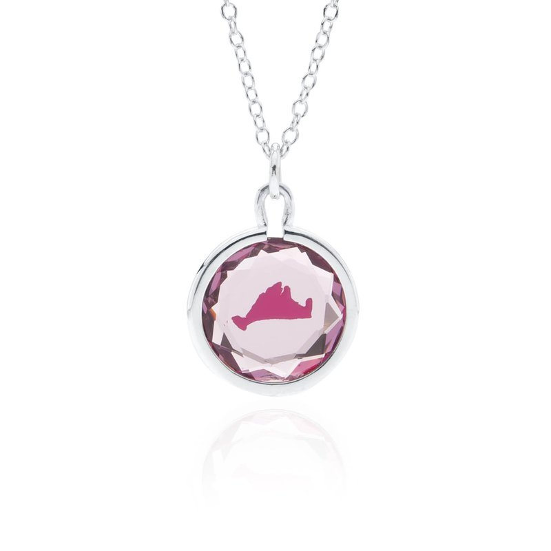 Purple Swarovski Crystal with pink enamel Martha's Vineyard necklace