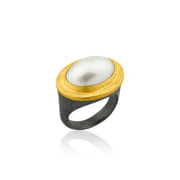 "Lika Behar ""Pompei"" ring with mabe pearl"