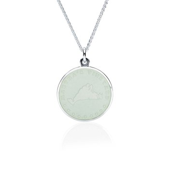 Martha's Vineyard white enamel pendant